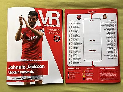 OFFICIAL Charlton Athletic vs Swindon Town Programme and Team Sheet
