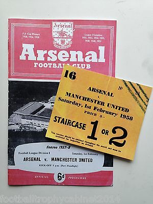 Arsenal v Manchester United Programme 1st Feb 1958 Busby Babe Last League Match
