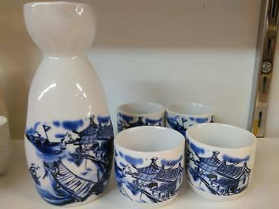 Porcelain Sake Set with 4 cups -Blue and White