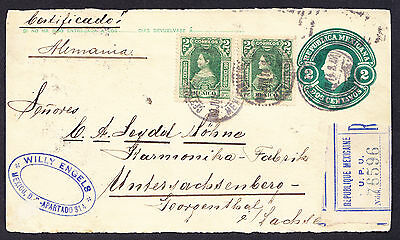 Mexican stamps on 1914 FRONT of stationery registered cover from Mexico Rebublic