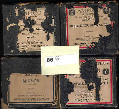 86g.  Lot of Four Ampico Piano Rolls - Good Condition - Titles and Artists Below