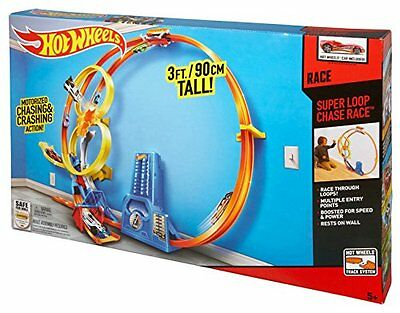 HOTWHEELS - 90cm Motorised SUPER LOOP CHASE RACE Track Set