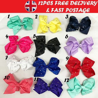 12PCS 5 Inch Individual Colour Baby Girls Ribbon Diamante Hair Bows Clips UK