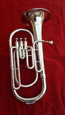 Horn Baritone Horn Made Of Pure Brass W/free Case & Mouthpiece Brand New Chrome