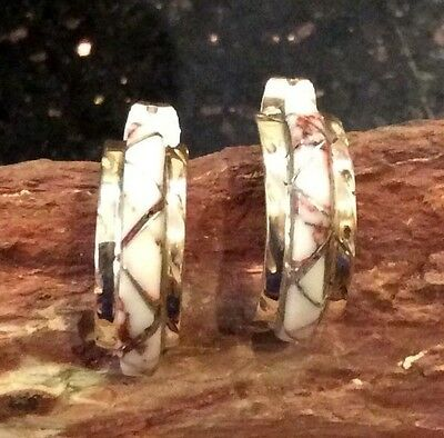Native American White Buffalo Turquoise Sterling Silver Hoop Earrings