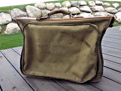 WWII US Military B4 Canvas Uniform Garment Bag Suitcase Leather Handle WW2