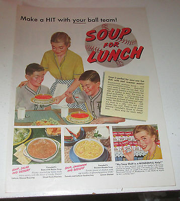 1952 original ad Campbell's Soup Mom Serving Lunch to Sons in Baseball Uninforms