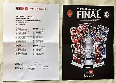 OFFICIAL and ORIGINAL 2017 EMIRATES FA CUP Arsenal vs Chelsea D/Sided Team Sheet