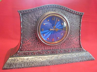 1905 Large Arts & Crafts Planished Pewter And Blue Enamel 8 Day Mantle Clock.