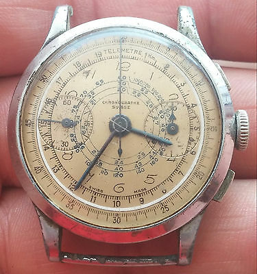 Military Pilot Chronographe Suisse Old Mechanical Wrist Watch - For  Repair