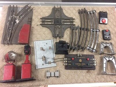 lot of (16) Vintage Marx Toys Train Lot w/ Track Tin-accessories take a look-84e