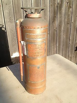 """Antique Copper  Fire Extinguisher O. J. """"Childs"""" Co.  2 1/2Gal."""