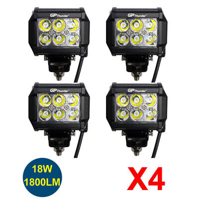 4pcs 4 inch Off Road 18W LED Fog Lamp Work Light Bar SUV Boat 4-LED Lamps