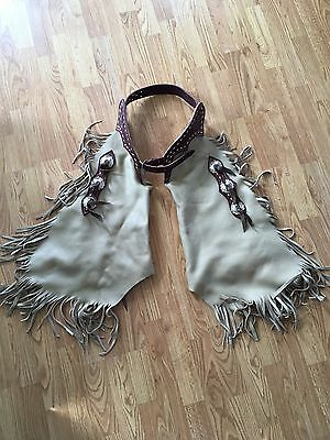 Western Chaps Chinks Rodeo Ranch Gear Fringe Cowgirl Cowboy Horse Tan Leather