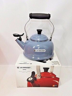 Le Creuset Classic Whistling Tea Kettle Mineral Blue 1.7 Quart  Enamel NIB NEW