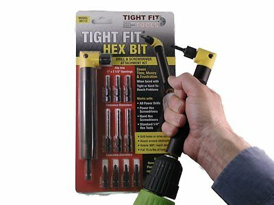 Tight Fit Right Angle 90 Deg Drill Screwdriver Bit Attachment and kit