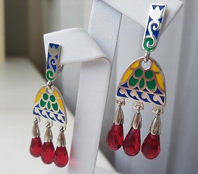 Stunning Sterling Silver 925 Enamel Set of Earrings and a Pendant UK