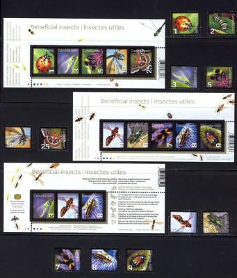 ca. BEE, BUTTERFLY,LADYBUG, INSECTS stamps & SSs collection MNH Canada 2007-12