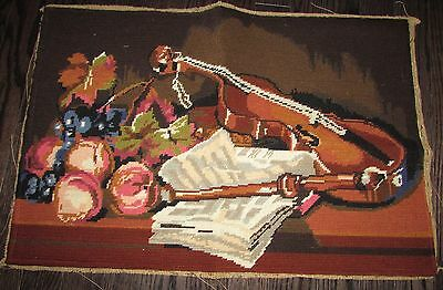 "UNFRAMED COMPLETED  NEEDLEPOINT ""LE VIOLON""   23""1/2 X 16"" approx."
