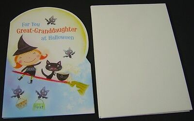 Happy Halloween Great-Granddaughter with Envelopes - Girl & Cat on a Broom