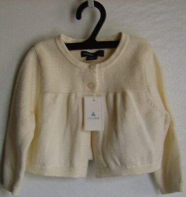 New Baby Gap Cream 2 Button Dressy Girl Cardigan 3-6 Months