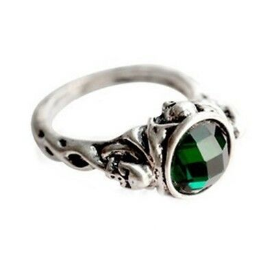 pirates of the caribbean Captain Jack Sparrow Green Emerald Ring Film Silver