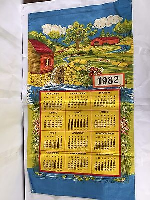Vintage 1982 Colorful Covered Bridge Water Wheel Country Kitchen Dish Tea Towel