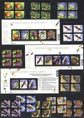 ca. BUG, BEE,BUTTERFLY,Insects Collection in Blocks 4 & 3 SSs MNH Canada 2007-12