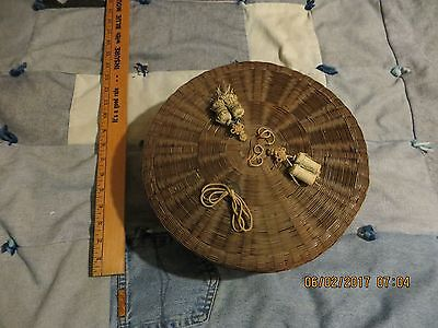 Wicker Sewing Basket - Antique Chinese Coin On Top - Some Wear , No Damage!