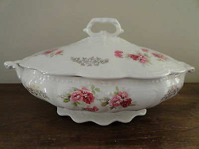 Vintage E.E.C & CO Porcelain Pink Country Roses Covered Tureen Bowl Casserole