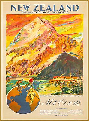 New Zealand Mt. Cook Playground Vintage Travel Advertisement Poster Print