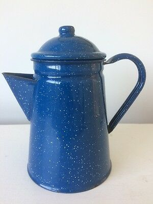 Vintage Traditional Blue Speckled  Coffee Pot/ Kitchenalia.