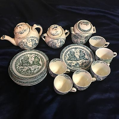 Antique Victorian Staffordshire Teal Allerton Punch and Judy Childs 19 Tea Set