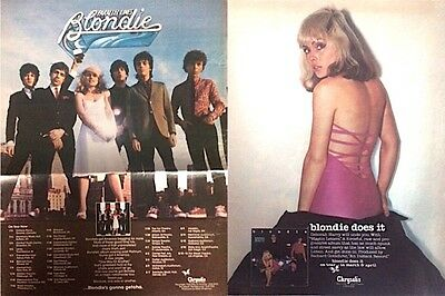 2 BLONDIE trade magazine ads for 2 albums (1976 Blondie, 1978 Parallel Lines)