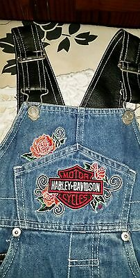 TODDLERS with  HARLEY DAVIDSON embroidery  DENIM OVERALLS Size 1-2 yrs adj strap
