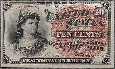 1863 10c Ten Cents 4th Issue Fractional Currency FR-1257, VF / XF