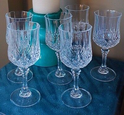 Vintage Set of 6 Crystal Cut Stemmed Wine Glasses -1960/70's