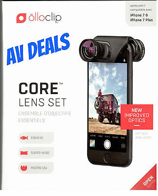 Olloclip Core Lens Set for iPhone 7/7 Plus - Black Electronic Case NEW