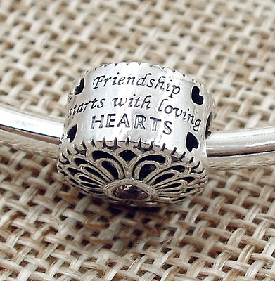 New 925 Silver Sterling PINK HEART STONE BEST FRIENDS LOVE Charm+ gift box