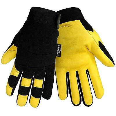 Deerskin Leather Insulated Fleece Lined Winter Work Mechanic Sports Gloves Large