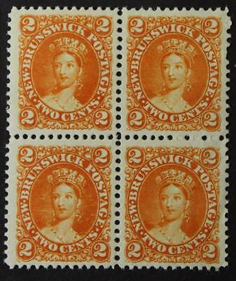 New Brunswick #7, Mint No Gum Block Of 4, Nicely Centered Cents Issue 1860