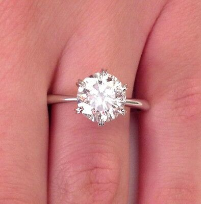 2.00 Ct D/si1 Round Cut Diamond Solitaire Engagement Ring 18K White Gold
