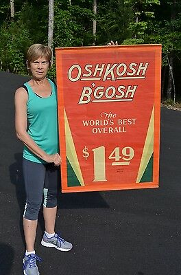 VINTAGE 40's OSHKOSH BGOSH $1.49 OVERALL PANTS CANVAS SIGN SUPER RARE UNFINDABLE