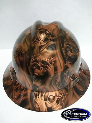 Copper Three Evil Pattern Full Brim New Custom MSA V-Gard Hard Hat W/FasTrac