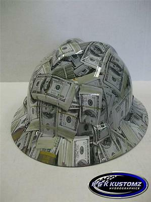 Money Pattern Full Brim NEW Custom MSA V GARD Hard Hat With Fas Trac Ratchet