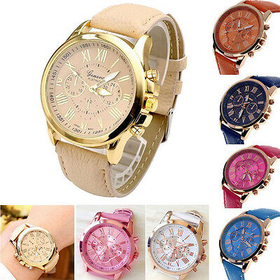 Women's Fashion Watch Geneva Roman Numerals Leather Analog Quartz Wrist Watch