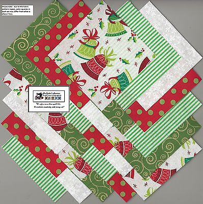 "25~5"" Christmas Bells Fabric Squares/Quilt/Craft/Sewing/Charm Packs #5885"