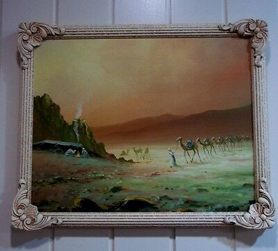 Oil Painting of a Desert Scene in Vintage Frame .