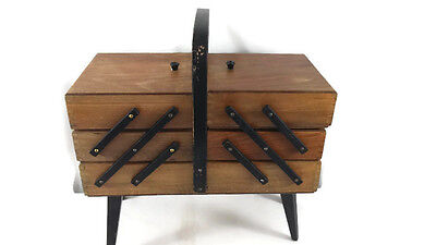 Vintage expandable wood SEWING BOX cabinet and thread