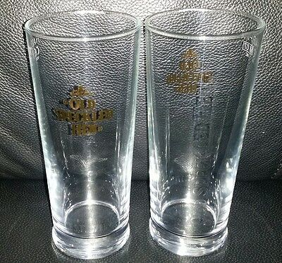 Pair Of Rare Collectable Morland Old Speckled Hen Half Pint Beer Glass Brand New